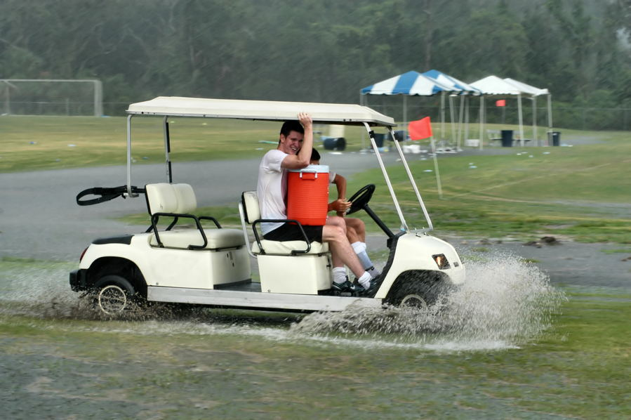 prepare for a worse score when playing golf in the rain