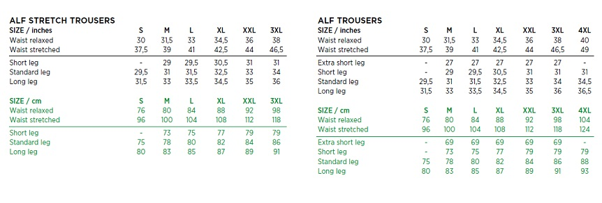 Galvin Green Alf and Alf Stretch Size Chart