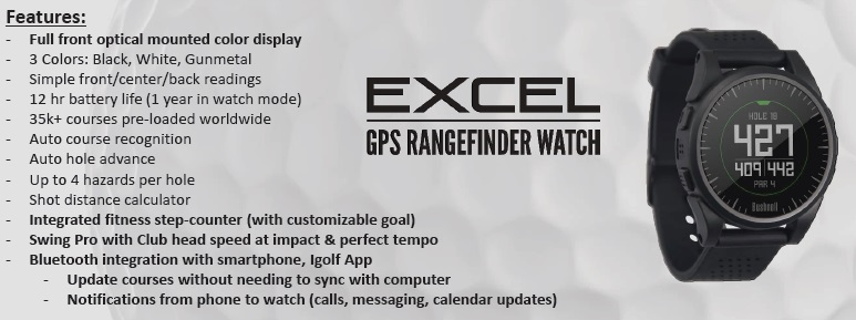 Bushnell Excel GPS Watch Features