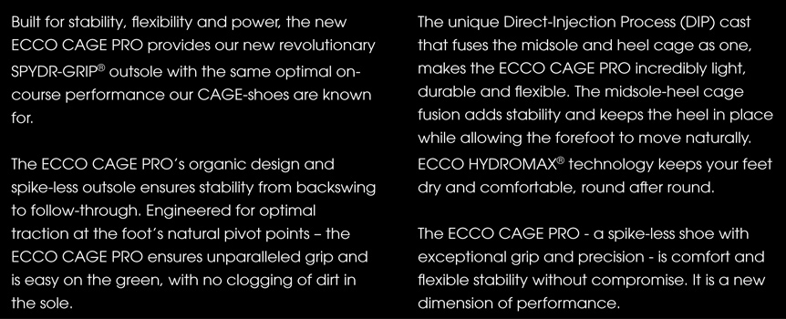 Ecco Cage Pro Golf Shoes Description