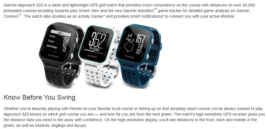 Garmin Approach S20 GPS Golf Watches Swing