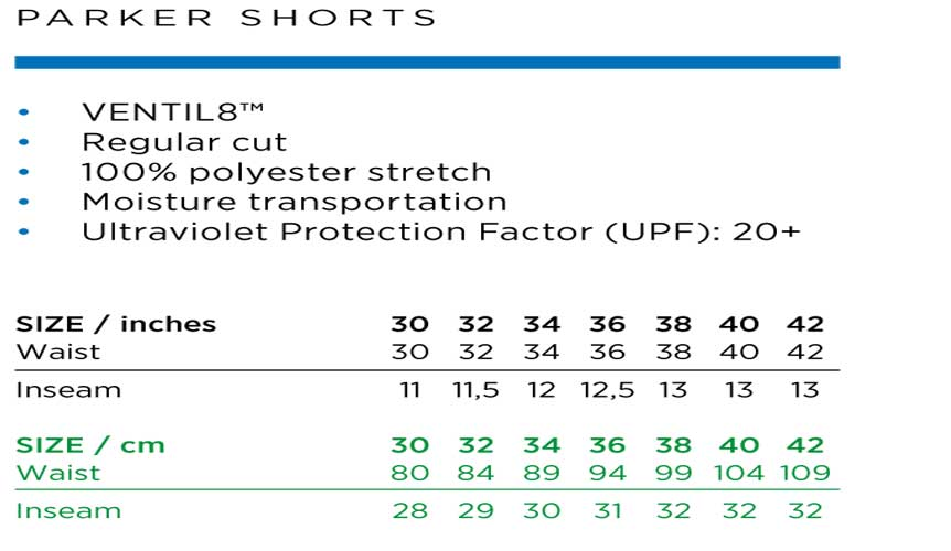 Galvin Green Parker Shorts Size Chart