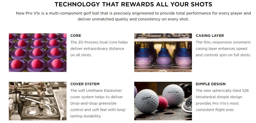 Titleist ProV1X Golf Balls Features