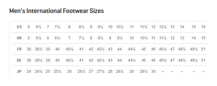 Puma Shoes Size Chart