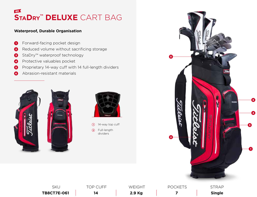 61e0856aaae Titleist StaDry Deluxe Cart Bags Features