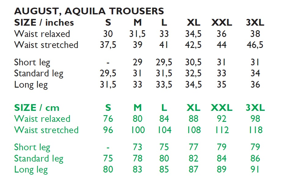 August Trousers Size Chart