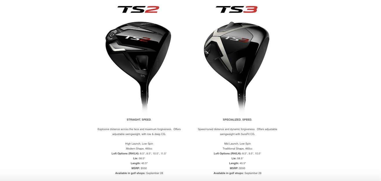 Titleist TS2 and TS3 comparison