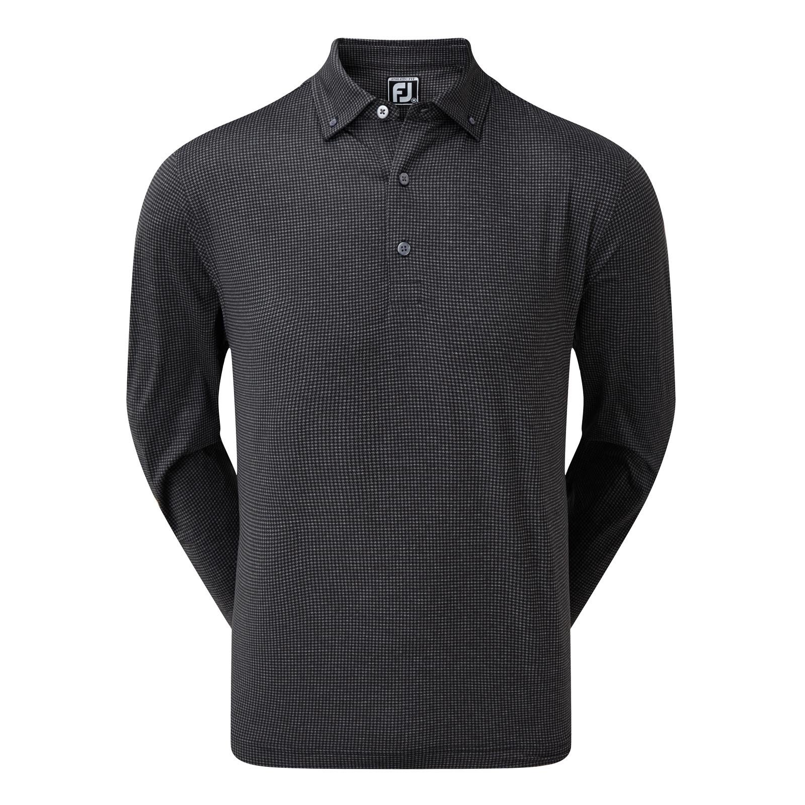 Footjoy Houndstooth Print Stretch Lisle Long Sleeve Polo
