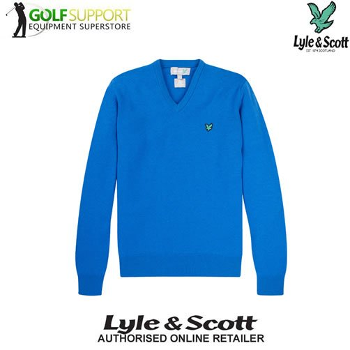 Lyle & Scott Green Eagle Lambswool V Neck Sweater