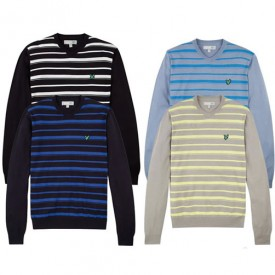 Lyle & Scott V Neck Stripe Sweater