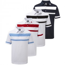 Footjoy Stretch Pique Engineered Stripe with Sleeve Stripe Polos