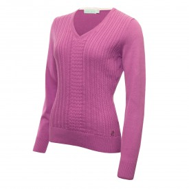 Green Lamb Gillian Slim Fit V-Neck Cable Sweaters
