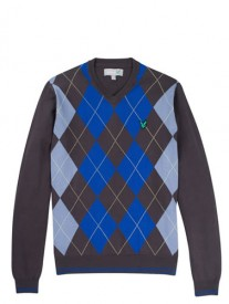 Lyle & Scott Club Eagle Argyle Sweater in Cadet Blue